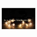 LED丸形電球ストリング、G45型クリア球、10球(30LED)、オレンジゴールド、黒コード