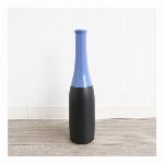 【モダンテイスト】陶器フラワーベース(花瓶) ブラック&レッド