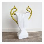 【モダンテイスト】陶器フラワーベース(花瓶) ホワイト&グリーン
