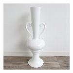 【個性的で上品なデザイン】フラワーベース(花瓶) ホワイト
