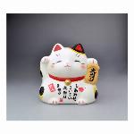 薬師窯 彩絵大当たり招き猫(小・白)