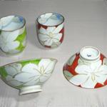 茶碗・湯呑 (桜流水・有田焼・手書き)