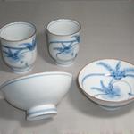 茶碗・湯呑 (くちなしの花・有田焼・手書き)