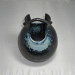 花瓶 (吹き手かご/美濃焼・白・中)