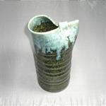 花瓶 (白流片口/美濃焼・紺・大)