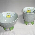 茶碗・湯呑 (花うさぎ・有田焼)