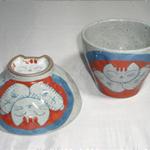 茶碗・湯呑 (高台ふくろう・有田焼・手書き)