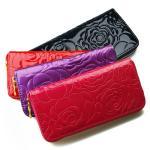【5色】ローズ型押しラウンドファスナー長財布 レディース 婦人 バラ柄 カメリア