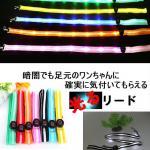 夜の散歩に光る【LEDリード】全7色 リード部全体発光 切替3パターン/ 簡単電池交換!