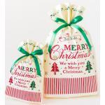 クラシカルクリスマスリボン付PEギフトバッグ