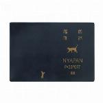 パスポートカバー ネコ ブルー