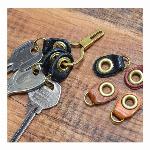【日本製】栃木レザー 鍵型真鍮キーホルダー3連 キーリング