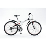 26インチ折りたたみ自転車 CHEVROLET WサスFD-MTB26 18S ホワイト