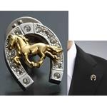 煌きの「馬と蹄鉄ピンブローチ」