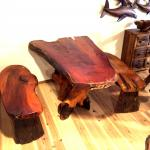 チーク材木製テーブルセット ベンチx2付 四角