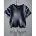 裾シフォンボーダーTシャツ