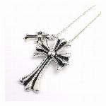 ダブルチャーム十字架モチーフ メンズシルバーネックレス いぶし加工風 メンズネックレス necklace SPST017