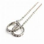ローマ数字のシルバー風ダブルリング いぶし加工風ローマリング メンズネックレス necklace SPST029