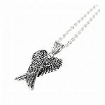翼デザインのいぶし加工風 ウィングモチーフシルバーネックレス メンズネックレス necklace SPST032