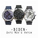【BIDEN バイデン】日常生活防水 カレンダー 日付表示 3フェイクダイヤル BD007 メンズ腕時計