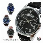 カレンダー付 フェイクダイヤル シンプルデザインに飛行機 HM001 Hannah Martin メンズ腕時計