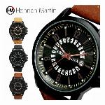 文字盤1周カレンダー付 近代的 パンチングベルト手元魅せ HM003 Hannah Martin メンズ腕時計