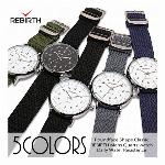【REBIRTH リバース】セイコームーブメント 日常生活防水 編み込みナイロンベルト RB019 メンズ腕時計