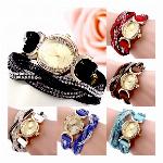 ラインストーンが華やかボタン留めブレスレット 2連ラップブレスレットウォッチ レディース腕時計 SPST005