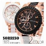 正規品SORRISOソリッソ 大きめ40mmケース ゴールド基調ボディのブレスレット時計 SR8707 レディース腕時計