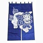 藍染風のれん 獅子/シーサー 紺/ネイビー (商品コード:303-244)