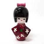 木製着物こけし人形 ワイン 8cmサイズ (商品コード:303-503)