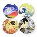 和柄メラミン食器 小皿4枚セット 浮世絵 (商品コード:303-596)