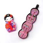琉装ネイルケアセット6種(爪切り・ハサミ他) 沖縄 紅型 ピンク (商品コード:303-640)