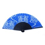 高級シルク扇子 美ら扇沖縄 面シーサー ブルー (商品コード:504-982)