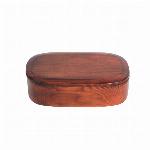 木製 一段  くりぬき 長方形 木目 バンド付き 弁当箱