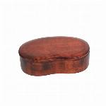 木製 一段  くりぬき 豆型 木目 バンド付き 弁当箱