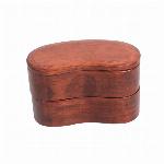 木製 二段  くりぬき 豆型 木目 バンド付き 弁当箱