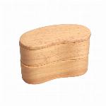 木製 二段  くりぬき 豆型 ナチュラル バンド付き 弁当箱