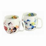 ■磁器ギフト■花猫ポット茶器