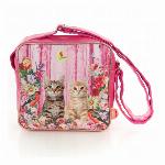プリントショルダーバッグ 猫1 (ピンク)