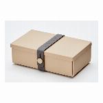 デンマーク製 折り畳み式ランチボックス&多目的ボックス uhmm box No.01 モカボックス/ダークグレーストラップ