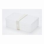 デンマーク製 折り畳み式ランチボックス&多目的ボックス uhmm box No.01 透明ボックス/ホワイトストラップ