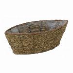 三つ編み油草舟型中3.5号連鉢アレンジかご