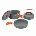 キャンプ クッカー3点セット アウトドア 食器 アルミクッカー キャンプ フライパン 調理器具 登山 用品 アルミ 鍋 2-3人に適応 収納袋付き キャンピング鍋