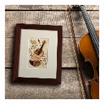 木はり絵手作りキット「バイオリン」 ペーパークラフト感覚でできる木製切り絵アート クイリングシリーズ