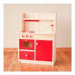 手作り 無垢材で作られた オリジナルおままごとキッチン キュートハイタイプ オーブン付きナチュラルレッド