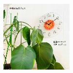 アートフラワークロック 掛け時計 オレンジ 【日本製】