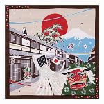 たまのお散歩(椿・12月) 小風呂敷(お弁当風呂敷) 50cm×50cm