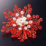 珊瑚の華やかコサージュ